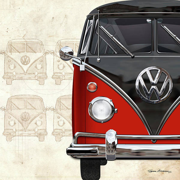 Digital Art - Volkswagen Type 2 - Red And Black Volkswagen T1 Samba Bus Over Vintage Sketch  by Serge Averbukh
