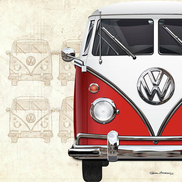 Digital Art - Volkswagen Type 2 - Red And White Volkswagen T1 Samba Bus Over Vintage Sketch  by Serge Averbukh