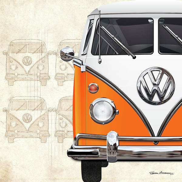 Digital Art - Volkswagen Type - Orange And White Volkswagen T1 Samba Bus Over Vintage Sketch  by Serge Averbukh