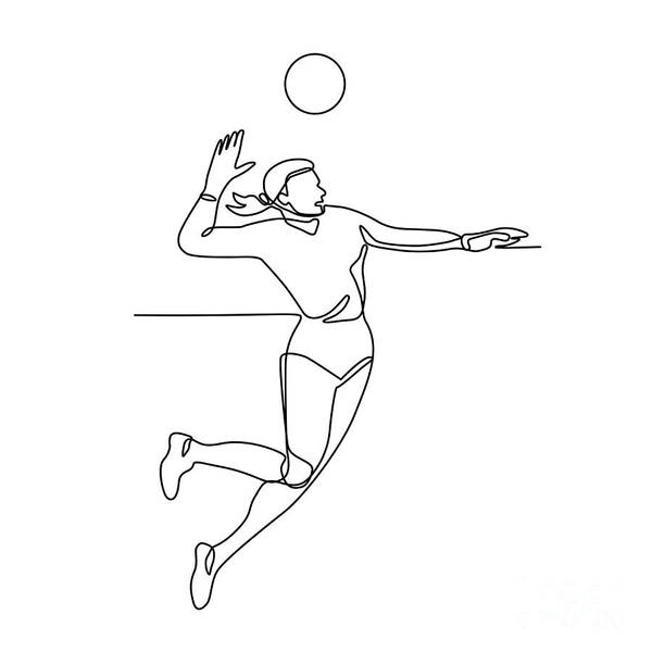 Wall Art - Digital Art - Volleyball Player Striking Ball Continuous Line by Aloysius Patrimonio