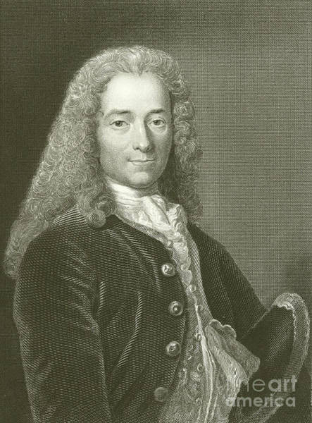 Wall Art - Drawing - Voltaire Portrait, Engraving by English School