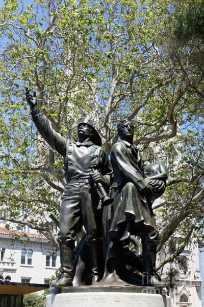 Wall Art - Photograph - Volunteer Fire Department Of San Francisco 1849 To 1866 Statue At Washington Park San Francisco R682 by Wingsdomain Art and Photography