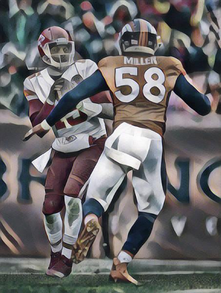 Wall Art - Mixed Media - Von Miller Denver Broncos Abstract Art 1 by Joe Hamilton