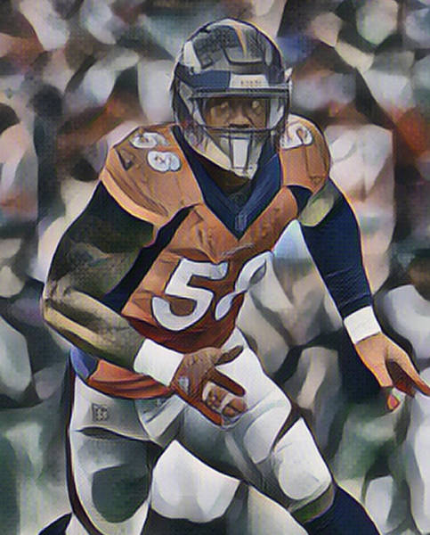 Wall Art - Mixed Media - Von Miller Denver Broncos Abstract Art 10 by Joe Hamilton
