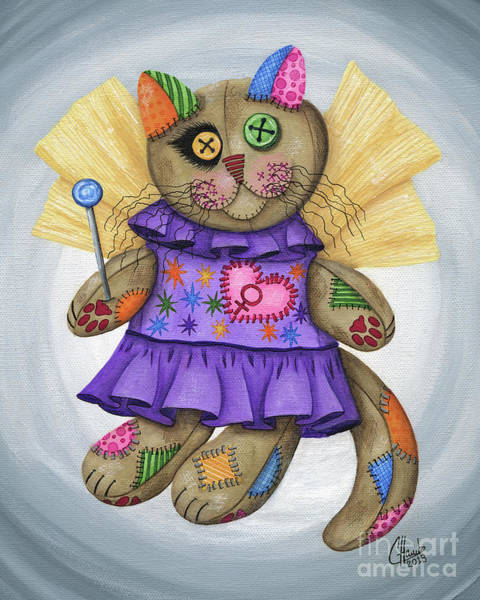 Painting - Voodoo Empress Fairy Cat Doll - Patchwork Cat by Carrie Hawks