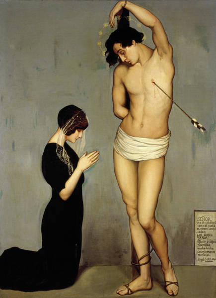 Wall Art - Painting - Votive Offering, Saint Sebastian by Angel Zarraga