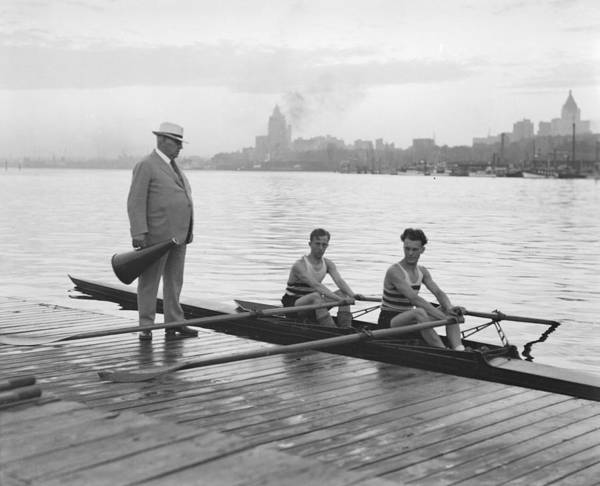 Painting - V.r.c. Vancouver Rowing Club Four  Double Crews For St. Catherines Taken For Province Coal Harbo by Celestial Images