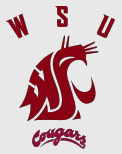 Spokane Digital Art - W S U Cougar Logo - T-shirt by Daniel Hagerman