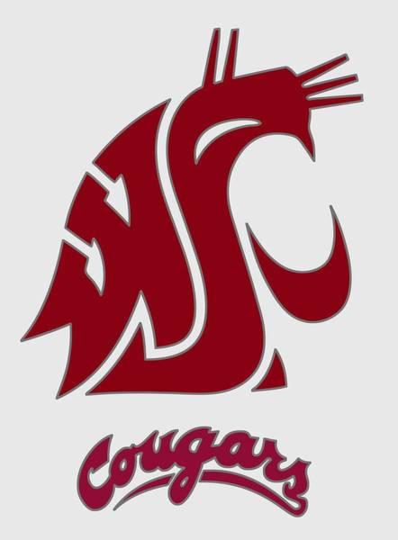 Spokane Digital Art - W S U Cougars Logo 2 - T-shirt by Daniel Hagerman