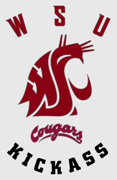 Wall Art - Digital Art - W S U Cougars Sports - T-shirt by Daniel Hagerman