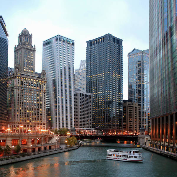 Skyline Drive Photograph - Wacker Drive And Chicago River At Dusk by Hisham Ibrahim