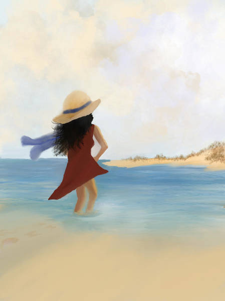 Painting - Wading by Dick Bourgault
