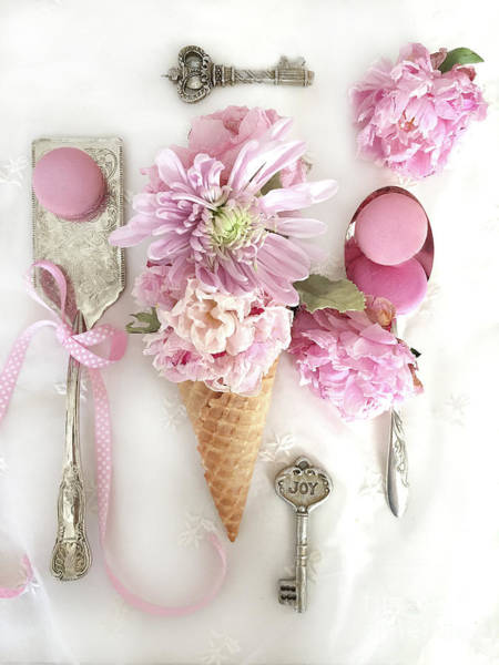 Wall Art - Photograph - Waffle Cone Macarons Shabby Chic Peonies Cottage Kitchen Pink Macarons Vintage Spoons  by Kathy Fornal