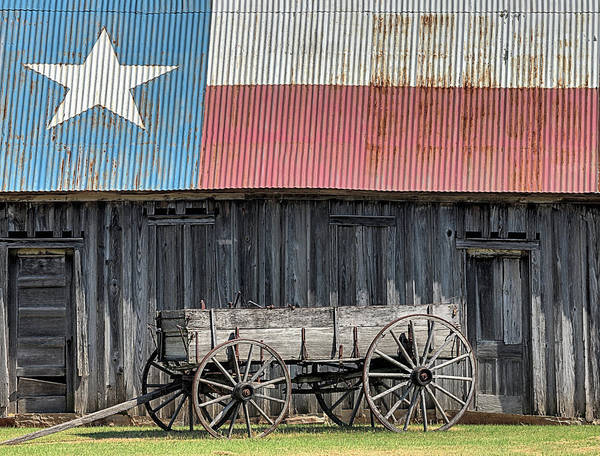 Photograph - Wagon And Texas Barn by JC Findley