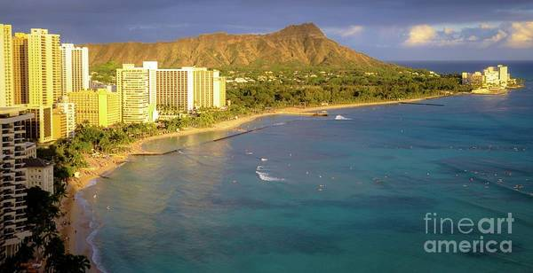 Photograph - Waikiki Beach Afternoon - Queen Kapiolani Park - Diamond Head Crater  by D Davila