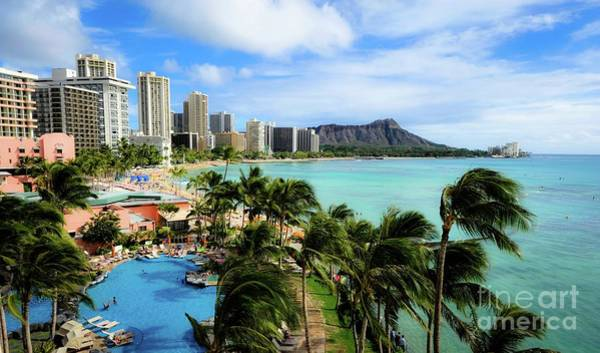 Photograph - Waikiki Beach - Diamond Head Crater  by D Davila