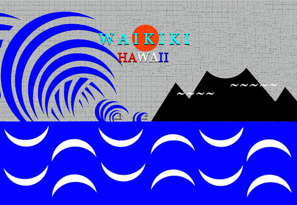 Wall Art - Digital Art - Waikiki Hawaii Surfing Art by David Lee Thompson