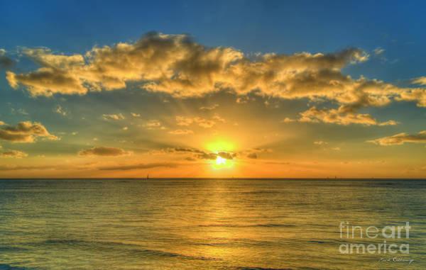 Photograph - Out To Sea Waikiki Beach Oahu Hawaii Sunset Pacific Seascape Art by Reid Callaway
