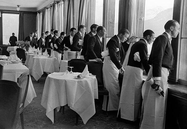 Wall Art - Photograph - Waiters At The Grand Hotel Line Up At by Alfred Eisenstaedt