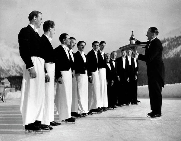 Wall Art - Photograph - Waiters In Ice Skates Learning How To Se by Alfred Eisenstaedt