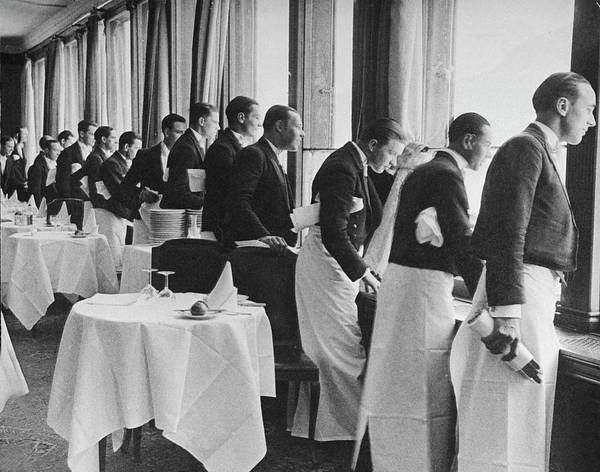 Photograph - Waiters In The Grand Hotel Dining Room L by Alfred Eisenstaedt