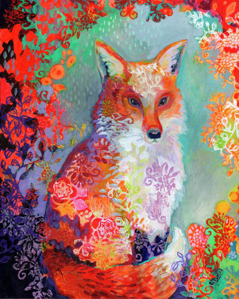 Fox Painting - Waiting For Dusk by Jennifer Lommers