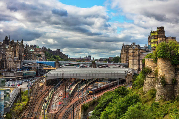 Holyrood Photograph - Waiting For The Train Downtown Edinburgh Overlooking The Train  by Debra and Dave Vanderlaan