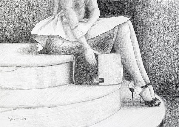 High Heels Drawing - Waiting In Paris Original by Karen L White