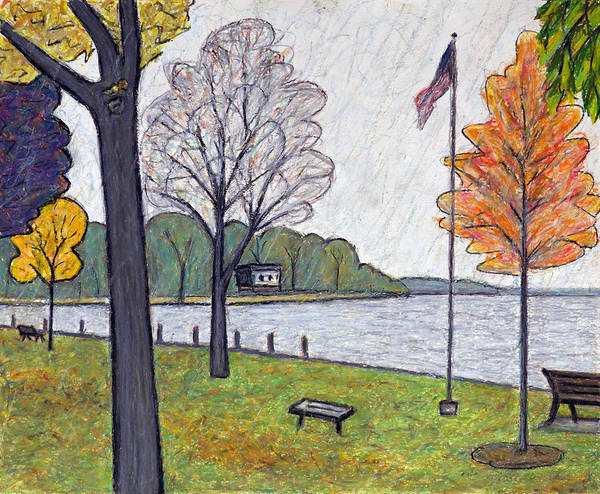 Oil Pastels Drawing - Waiting In The Rain by Bruce Bodden
