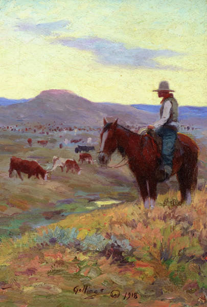 Wall Art - Painting - Waiting On The Herd, 1918 by E William Gollings