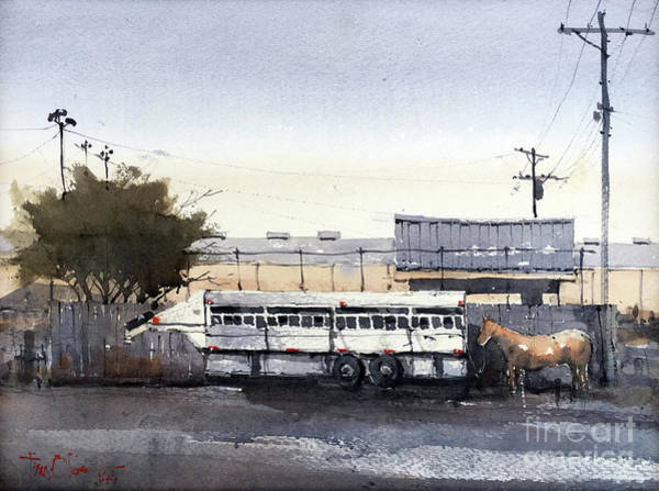 Roping Painting - Waiting by Tim Oliver