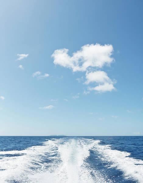 Okinawa Photograph - Wake Of Ship On Blue Ocean With Blue Sky by Yusuke Murata