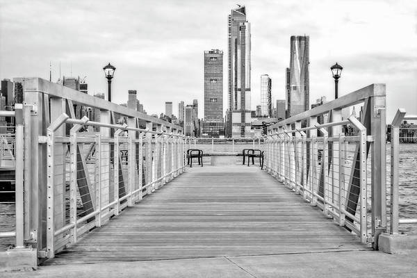 Photograph - Walk To New York City Skyline Bw by Susan Candelario