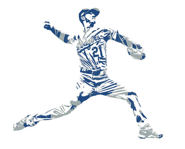 Wall Art - Mixed Media - Walker Buehler Los Angeles Dodgers Pixel Art 2 by Joe Hamilton