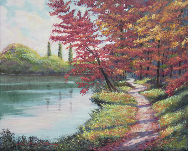 Painting - Walking Around The Lake by David Lloyd Glover