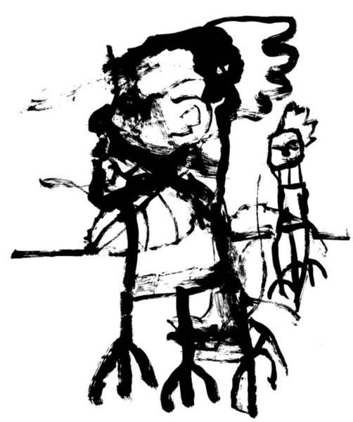 Wall Art - Drawing - Walking Cockerel Men by Artist Dot