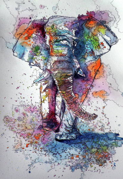 Wall Art - Painting - Walking Elephant by Kovacs Anna Brigitta