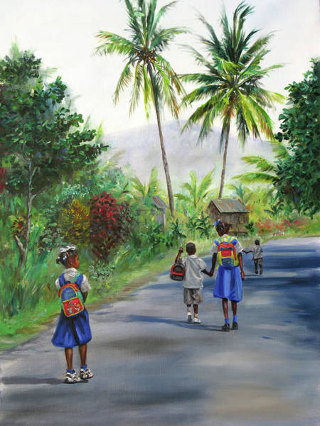 Saint Lucia Painting - Walking Home 2 by Jonathan Guy-Gladding JAG