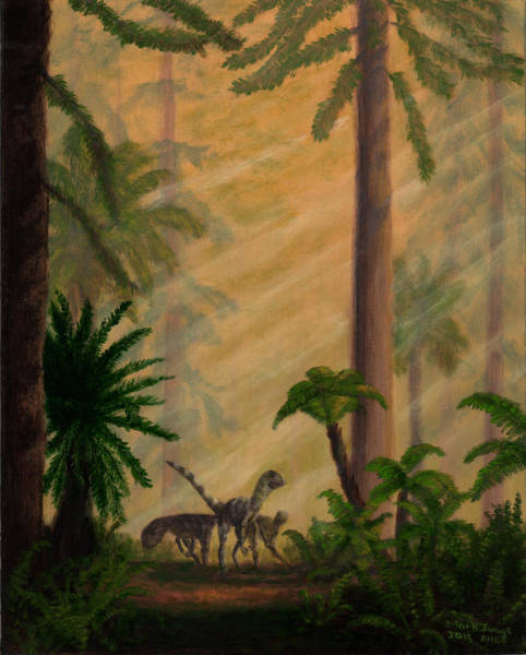 Wall Art - Painting - Walking In Creataceous Mists by Mark Junge
