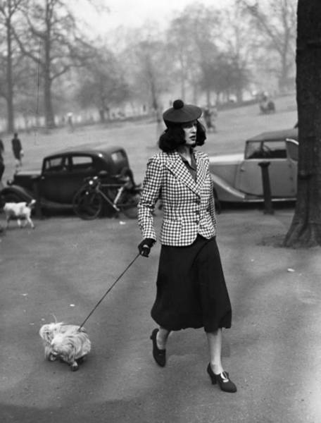 Beret Photograph - Walking The Dog by H F Davis