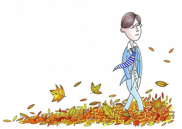 Walking Through Leaves Art Print
