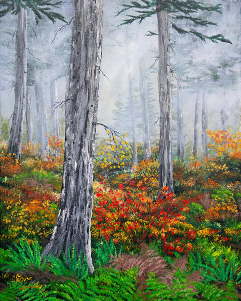 Pnw Wall Art - Painting - Walking Through The Woods On A Rainy Autumn Day by Laura Iverson