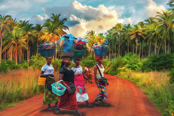 Photograph - Walking To Market In Watercolors by Debra and Dave Vanderlaan