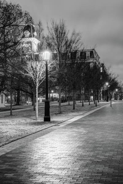 Photograph - Walking To Old Main - University Of Arkansas Monochrome by Gregory Ballos