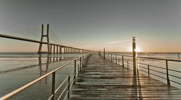 Vasco Da Gama Bridge Wall Art - Photograph - Walkway And Bridge by Landscape Photography