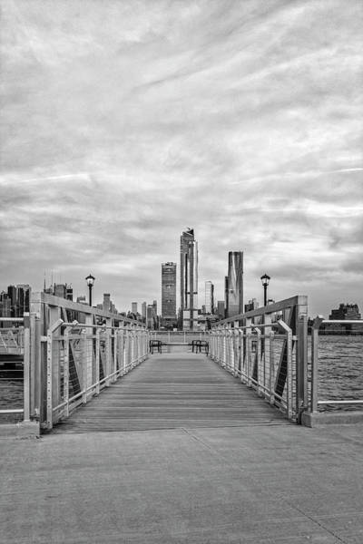 Photograph - Walkway To New York City Skyline Bw by Susan Candelario