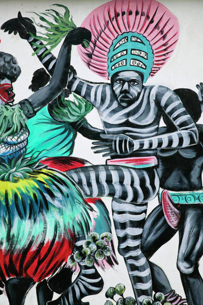 Headwear Photograph - Wall Mural Of Native Dance, Port Vila by Danita Delimont