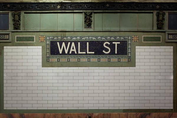 Brick Wall Photograph - Wall Street Sign by Steve Lewis Stock