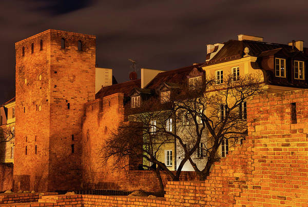 Wall Art - Photograph - Walled Old Town Of Warsaw At Night by Artur Bogacki