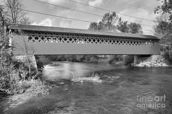Photograph - Wallomsac River Covered Bridge Black And White by Adam Jewell